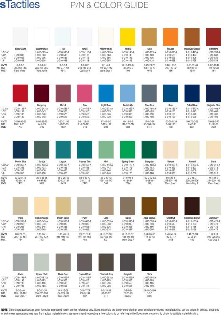 ADA Substrate Color Chart - Wholesale ADA Signs - Elite Letters & Logos