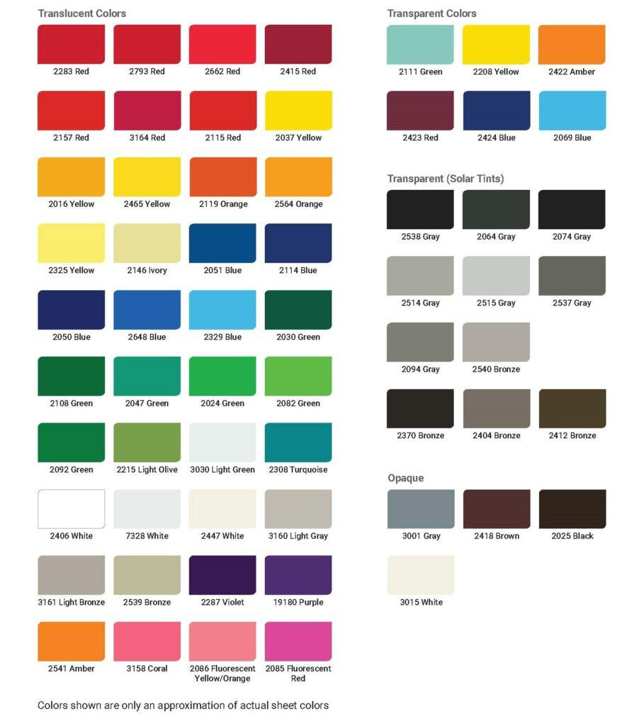 Acrylic Stock Colors Chart - Wholesale Sign Manufacturer - Elite Letters & Logos