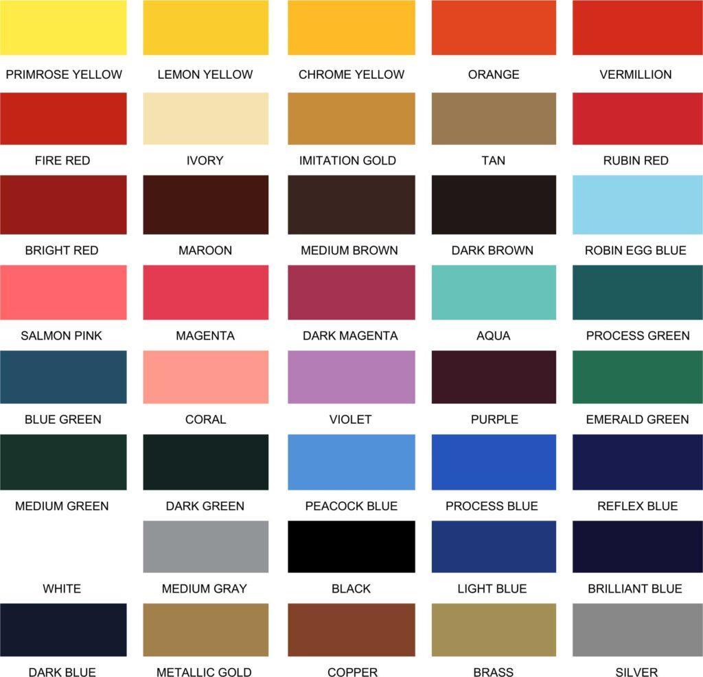 Paint Stock Colors Chart - Wholesale Sign Manufacturer -Elite Letters & Logos